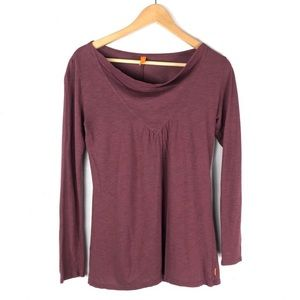 Lucy Yoga Top Tee Long Sleeve Cowl Neck Small
